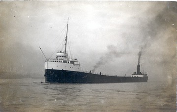 Fr. Edward J. Dowling, S.J. Marine Historical Collection: Daniel J. Morrell - Early in her career, note the open pilothouse, and the rowboat almost in her path